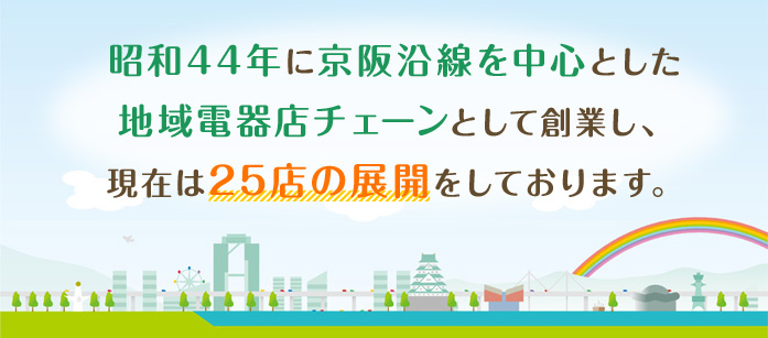 昭和44年に京阪沿線を中心とした地域電器店チェーンとして創業し、現在は25店の展開をしております。